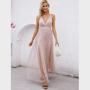 Pastel Pink Mesh Overlay High Slit Cami Dress